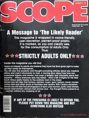 Mens sex magazines, Scope, South African back issues, edition: 18 Sepgtember 1992