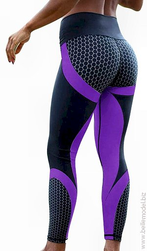 High-Waist performance tech printed tights with purple stripes, South Africa, Pretoria east