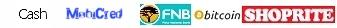 Payment options: ABSA cash send, Bitcoin, bobBucks Vouchers, cash, EFT to FNB, mobicred, SCode, SnapScan, Shoprite/Pepstore money transfer (cash)