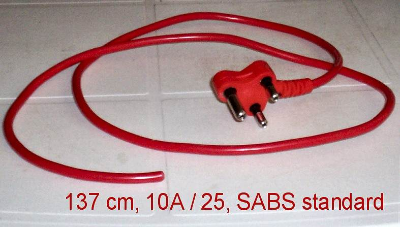 Electric cords with 3 point plugs. South Africa, Pretoria east
